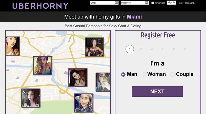 UberHorny homepage screenshot